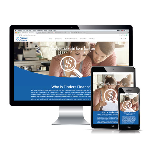 finders finance website displayed on various screen sizes